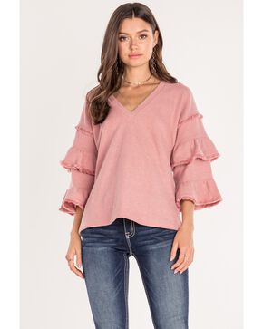 Miss Me Women's Double Ruffle Sleeve Top , Blush, hi-res