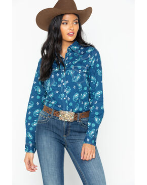 Wrangler Women's Paisley Snap Long Sleeve Western Shirt, Blue, hi-res