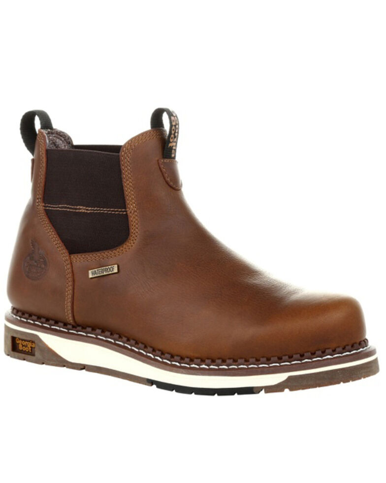 Georgia Boot Men's Waterproof Chelsea Work Boots - Soft Toe, Brown, hi-res