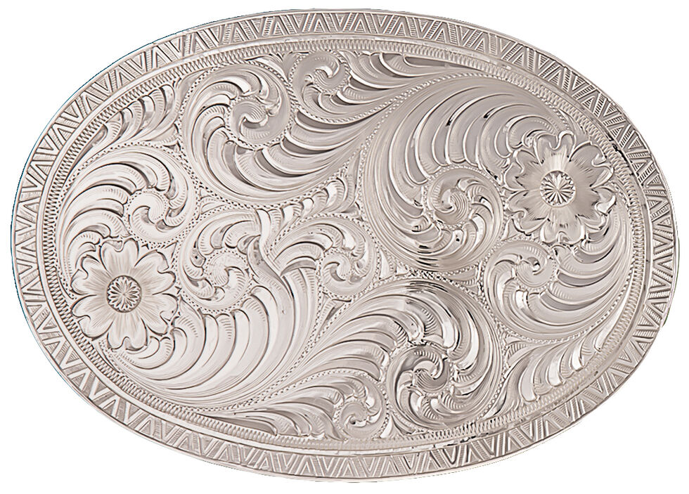Montana Silversmiths Men's Oval Engraved Western Belt Buckle, Silver, hi-res
