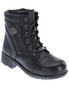 Harley Davidson Women's Raine Moto Boots - Steel Toe, Black, hi-res