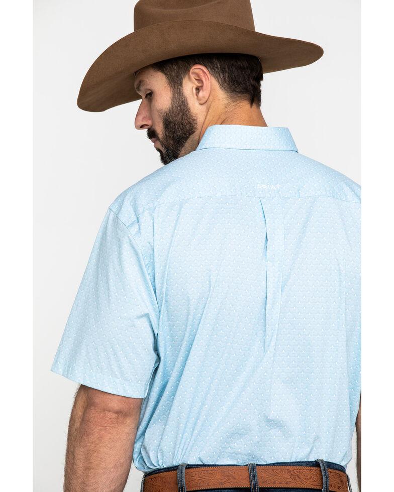 Ariat Men's Louisville Stretch Geo Print Short Sleeve Western Shirt - Tall , Blue, hi-res