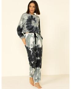 Velvet Heart Women's Grey Tie-Dye Cropped Pullover Sweatshirt , Grey, hi-res