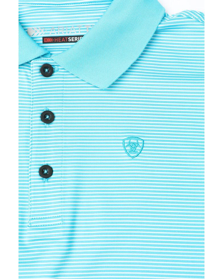 Ariat Boys' Stripe Tek Polo Shirt, Turquoise, hi-res