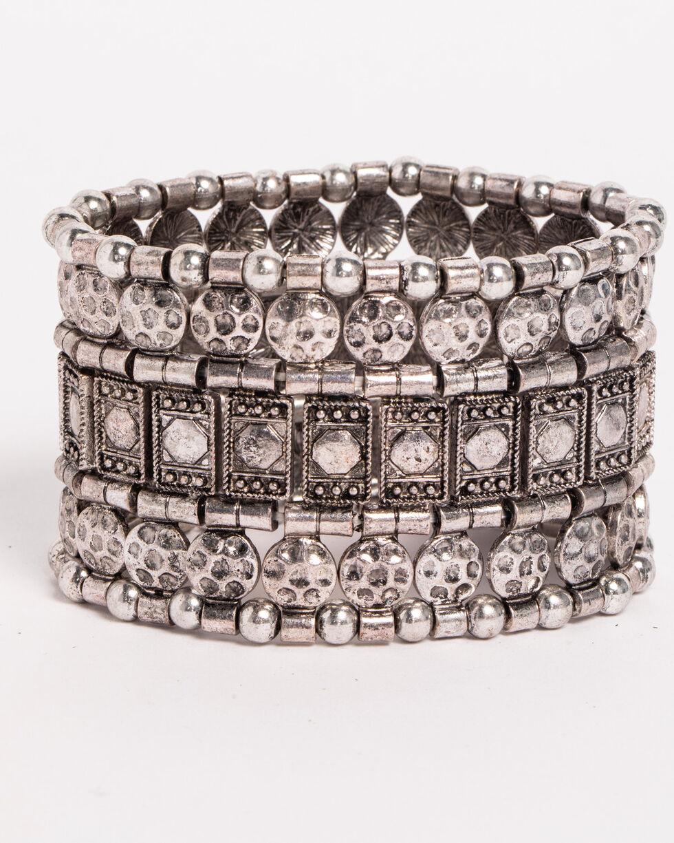 Shyanne Women's Mixed Pattern Stretch Bracelet, Silver, hi-res