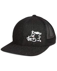Oil Field Hats Men's Heather Black & White Sniper Pig Embroidered Mesh-Back Ball Cap , Black, hi-res