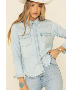 Levi's Women's Ultimate Denim Long Sleeve Western Shirt , Light Blue, hi-res