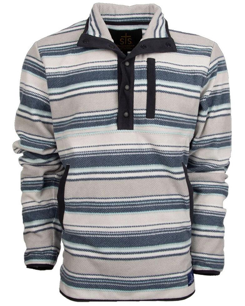 STS Ranchwear Men's Ringo Striped Fleece Pullover Sweatshirt , Navy, hi-res