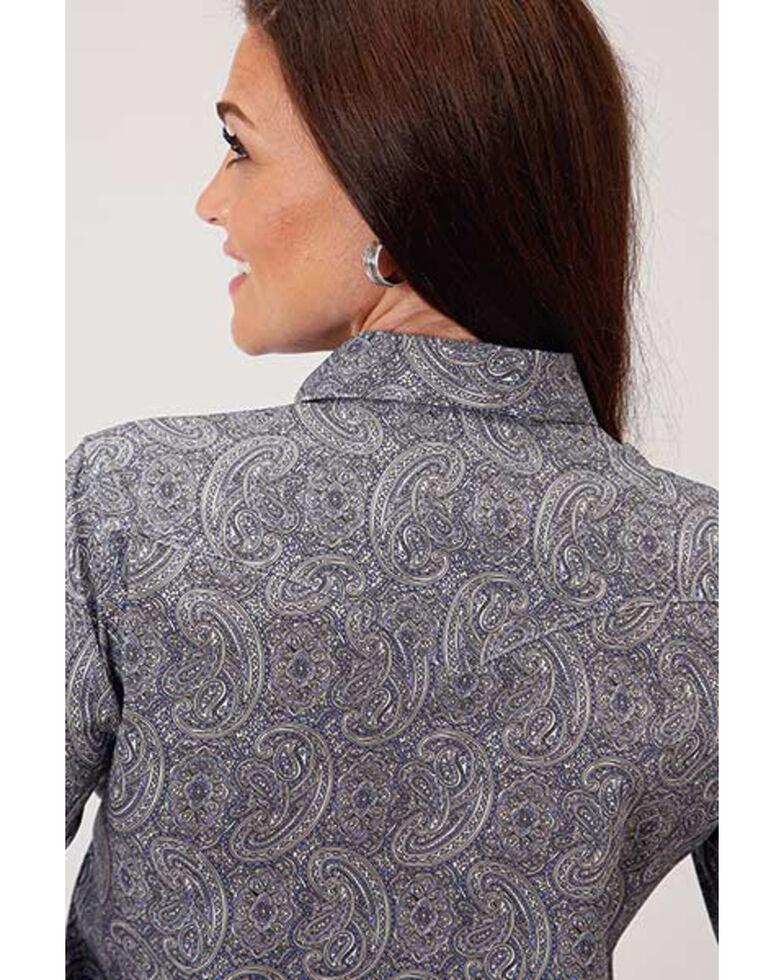 Amarillo Women's Wildwood Quarry Paisley Print Short Sleeve Snap Western Core Shirt , Purple, hi-res