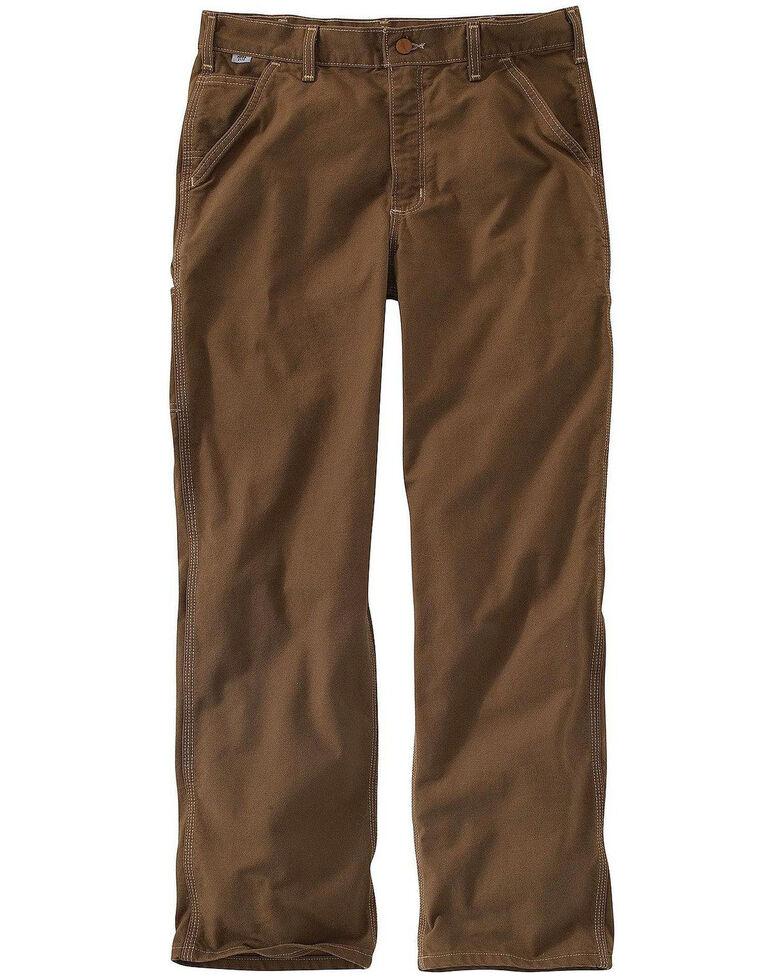 Carhartt Men's FR Brown Washed Duck Dungaree Work Pants - Big , Medium Brown, hi-res