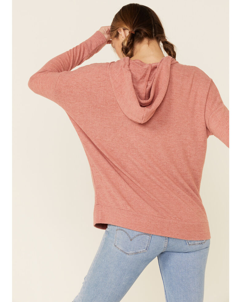 Angie Women's Brushed Hacci Hooded Sweatshirt , Rust Copper, hi-res