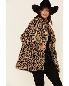 Angie Women's Tan Leopard Coat , Tan, hi-res
