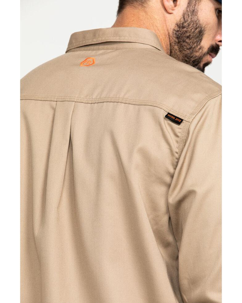 Hawx Men's Khaki FR Long Sleeve Woven Work Shirt - Tall , Beige/khaki, hi-res