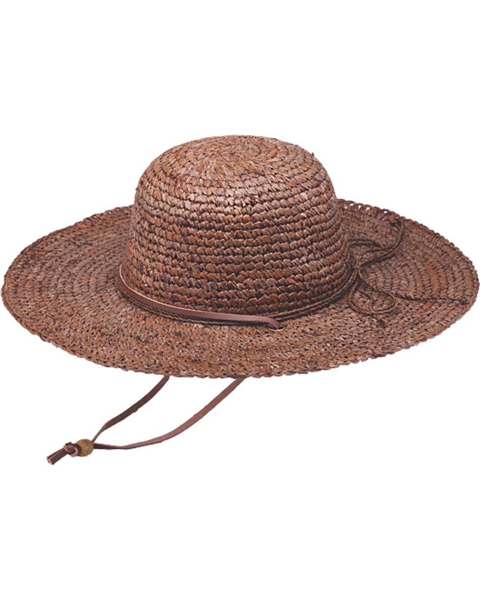 """Peter Grimm Ginko 4 1/4"""" Brown Raffia Straw Sun Hat, Brown, hi-res"""
