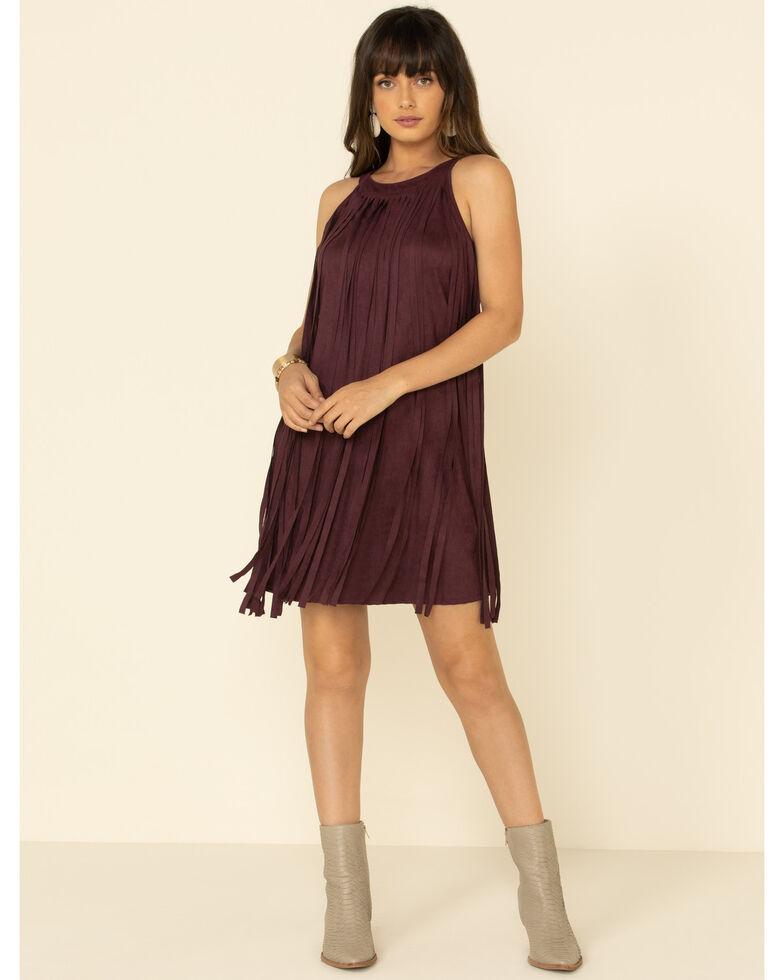 Rock & Roll Denim Women's Burgundy Fringe Front Dress, Burgundy, hi-res
