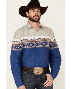 Roper Men's Vintage Arizona Aztec Border Print Long Sleeve Snap Western Shirt , Blue, hi-res