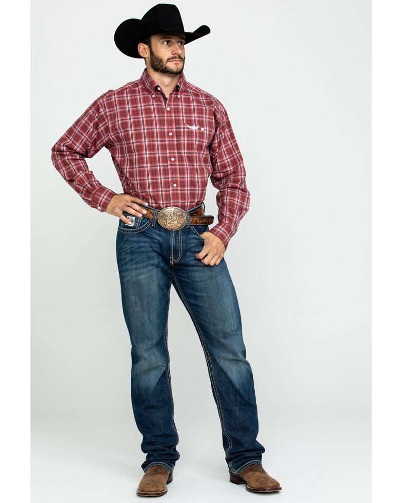 Ariat Men's Propel Large Plaid Long Sleeve Western Shirt, Red, hi-res