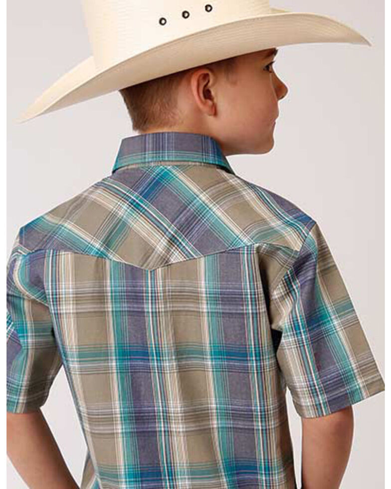 Roper Boys' Wildwood Plaid Short Sleeve Western Snap Shirt , Brown, hi-res