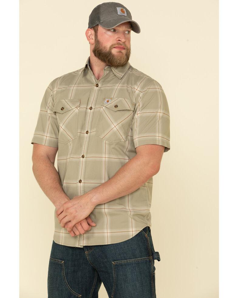 Carhartt Men's Khaki Rugged Flex Bozeman Plaid Short Sleeve Work Shirt , Beige/khaki, hi-res