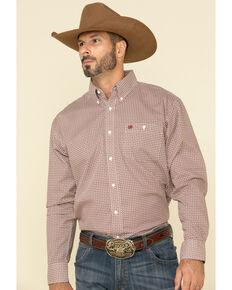 Wrangler Men's Classic White Diamond Geo Print Long Sleeve Western Shirt , White, hi-res