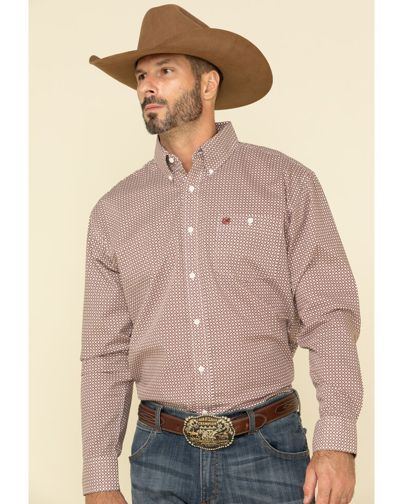 Wrangler Men's Classic White Diamond Geo Print Long Sleeve Western Shirt , White, hi-res