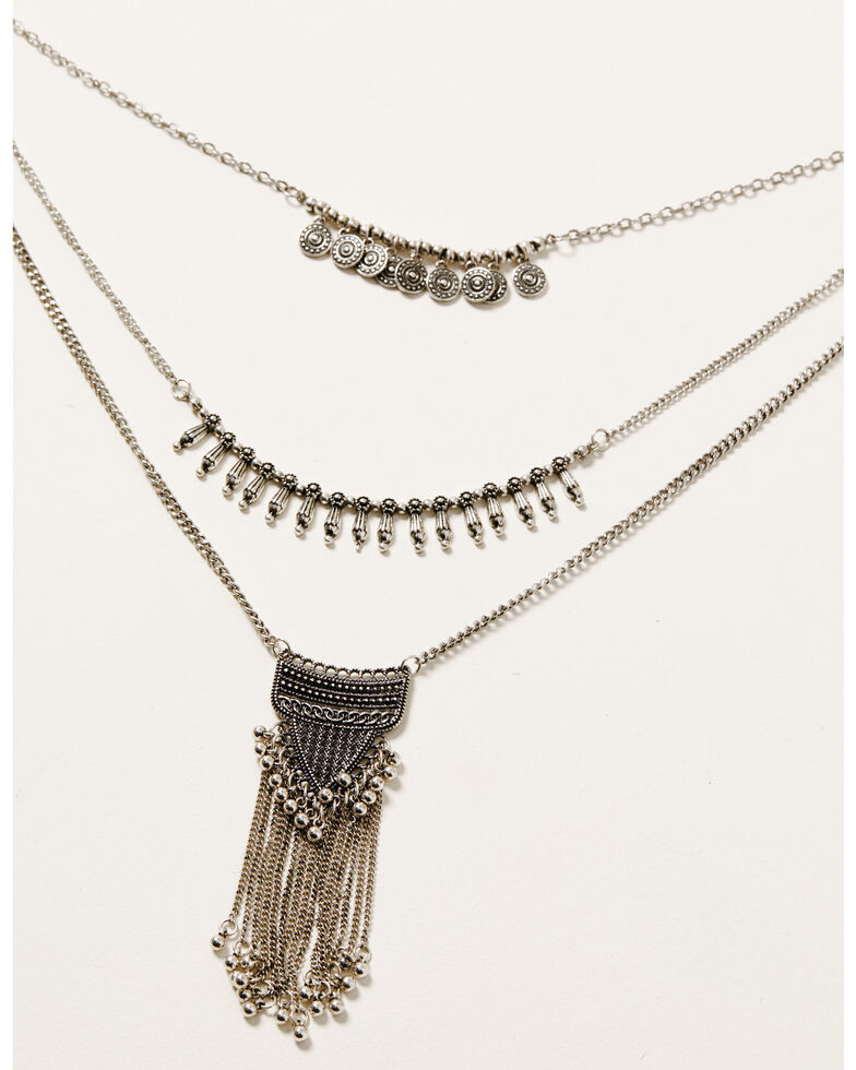 Howard's Women's Tassel Chain Bib Necklace, Silver, hi-res