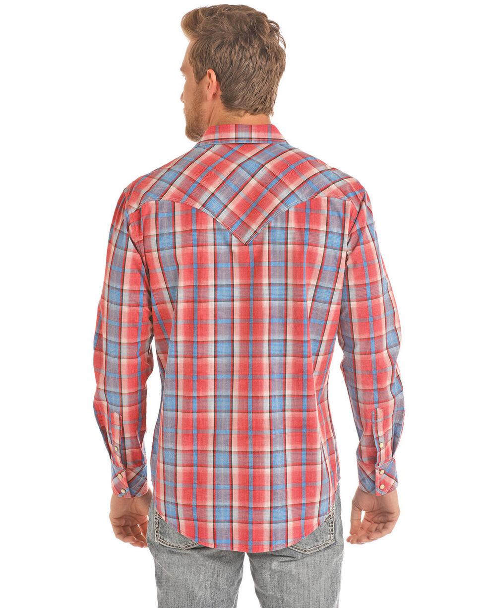 Rock & Roll Cowboy Men's Crinkle Poplin Plaid Long Sleeve Western Shirt , Red, hi-res