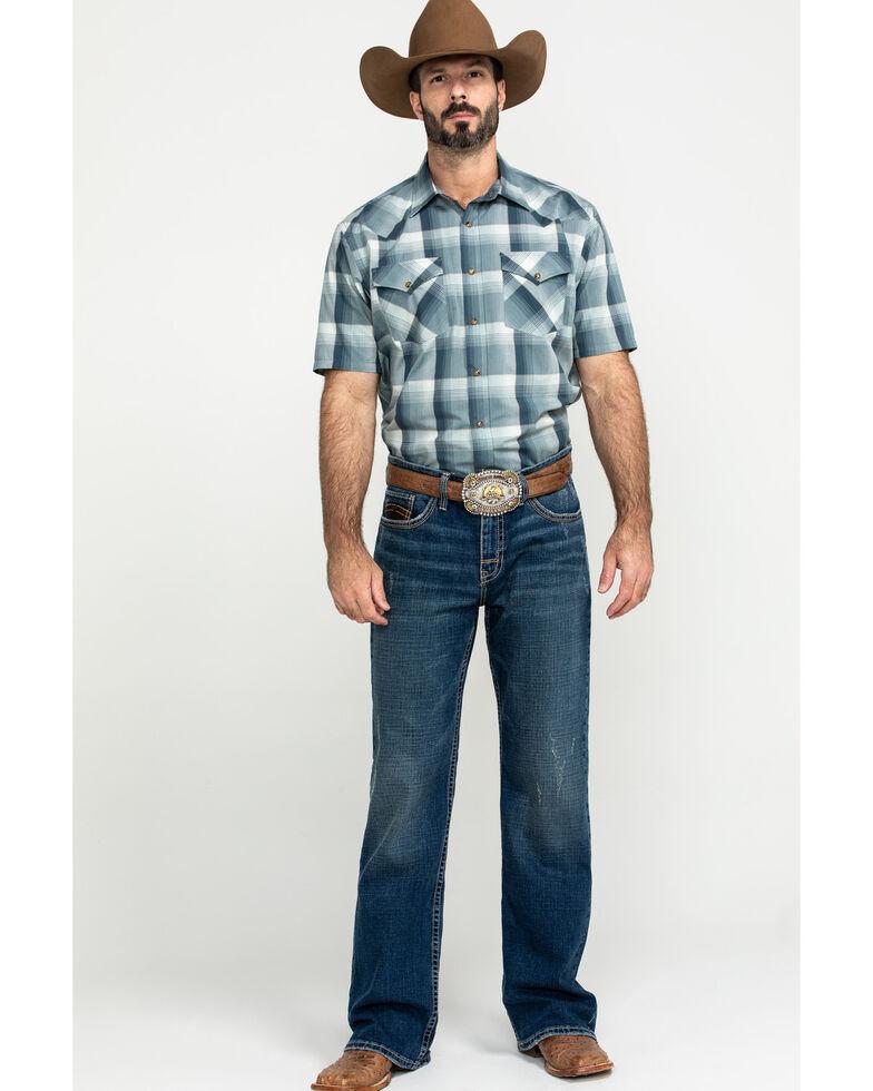 Pendleton Men's Blue Frontier Plaid Short Sleeve Western Shirt , Blue, hi-res