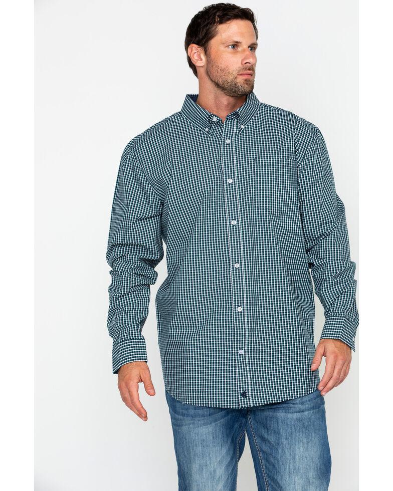 Cody James Core Men's Small Checkered Plaid Long Sleeve Western Shirt, Navy, hi-res