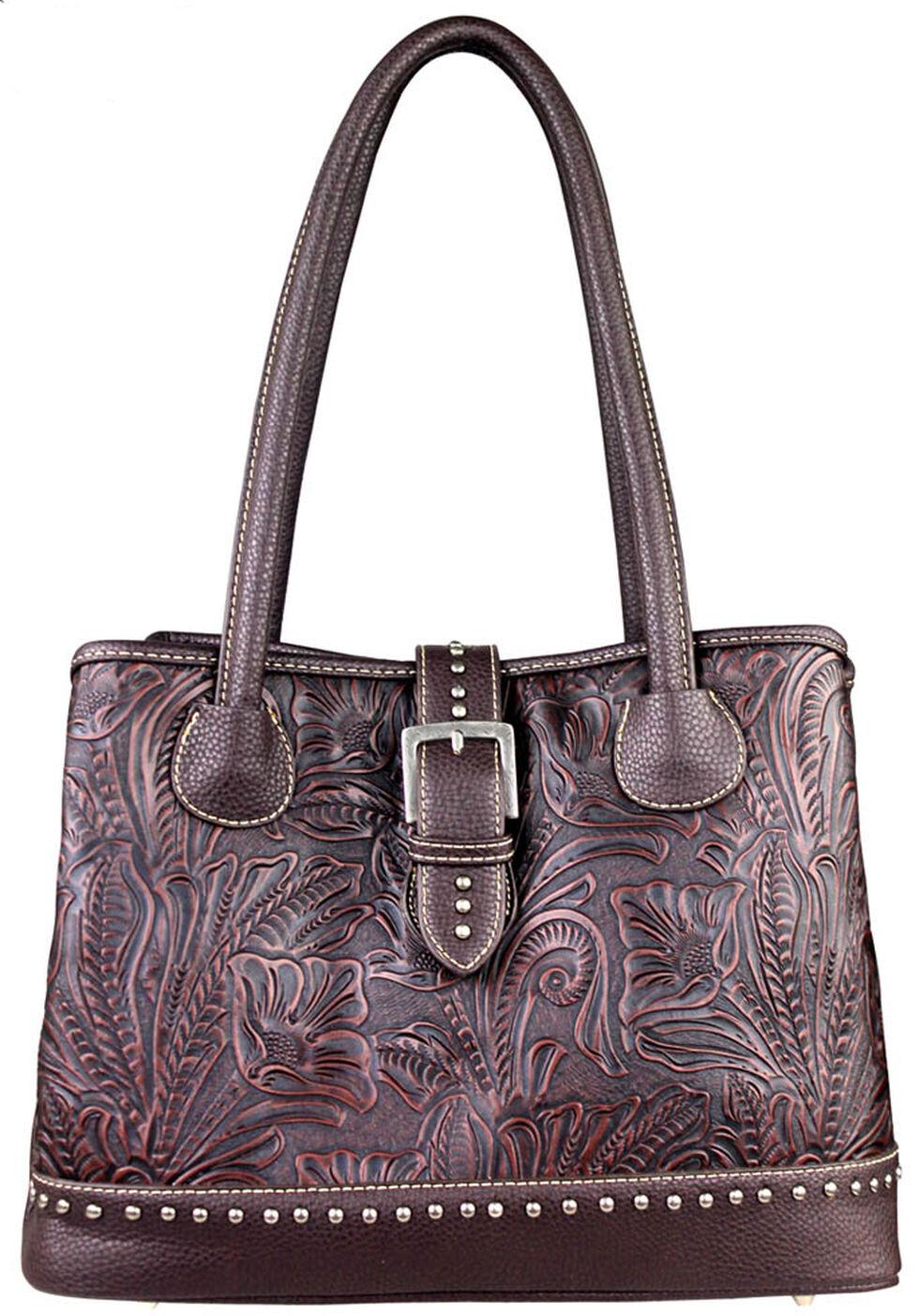 Montana West Trinity Ranch Tooled Design Concealed Handgun Collection Handbag, Dark Brown, hi-res