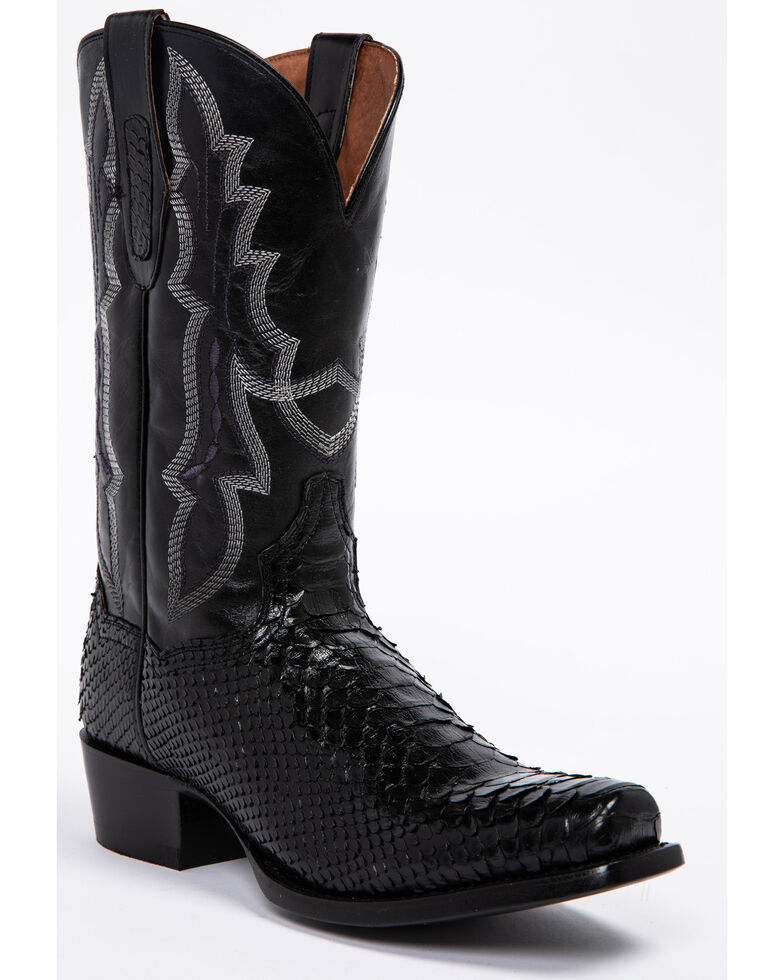 Dan Post Men's Black Python Cowboy Boots - Square Toe, Black, hi-res