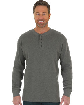 Wrangler Men's Charcoal RIGGS Thermal Henley , Charcoal, hi-res