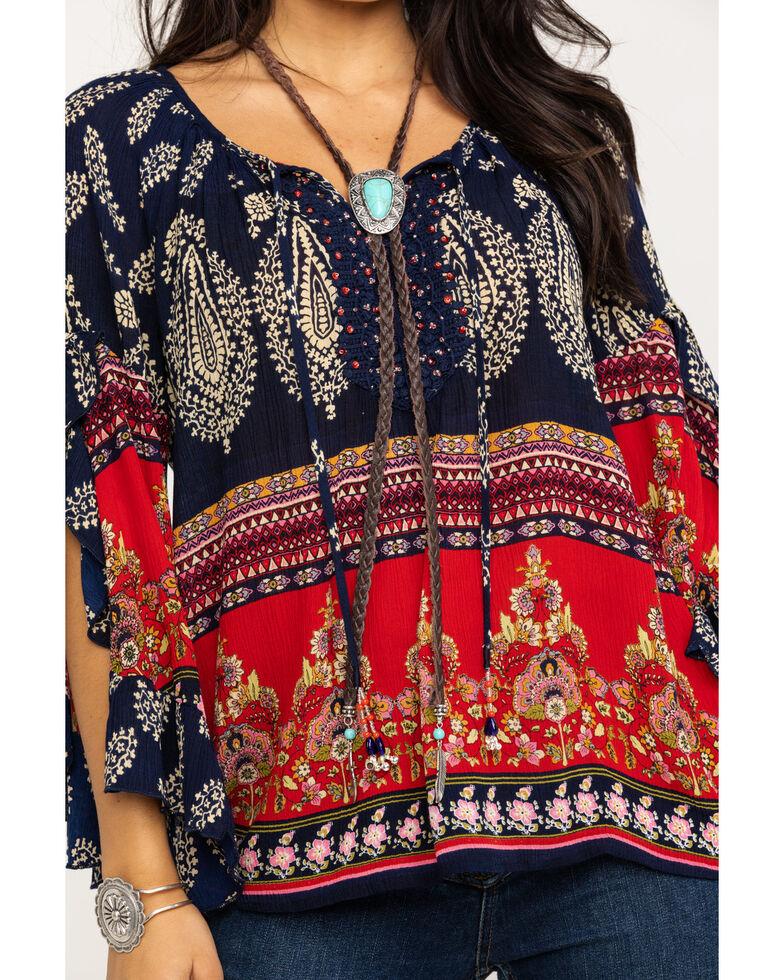Bila Women's Boho Peasant Bell Sleeve Top , Red/white/blue, hi-res