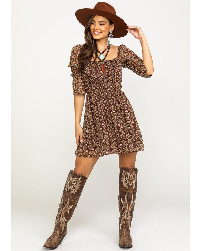 Trixxi Women's Ditsy Print Smocked Waist Peasant Fit & Flare Dress, Brown, hi-res