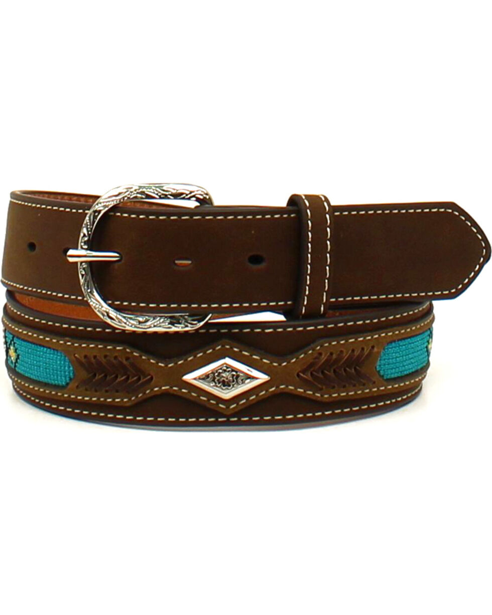 Nocona Men's Leather Ribbon Overlay Western Belt , Brown, hi-res