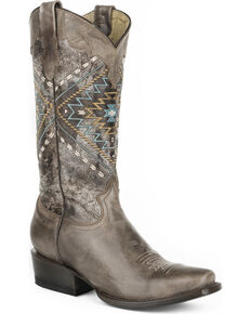Roper Women's Brown Native Western Boots - Snip Toe , Brown, hi-res