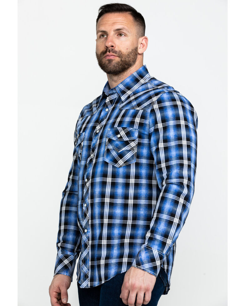 Rock & Roll Denim Men's Crinkle Herringbone Plaid Long Sleeve Western Shirt , Blue, hi-res