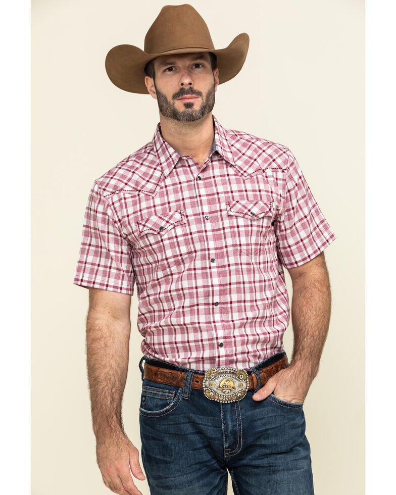 Cody James Men's Cookout Plaid Short Sleeve Western Shirt , Red, hi-res