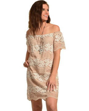 Young Essence Women's Lace Off The Shoulder Dress, Taupe, hi-res