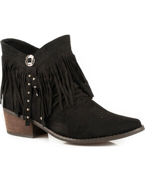Roper Women's Black Fringe Western Booties - Medium Toe , Black, hi-res