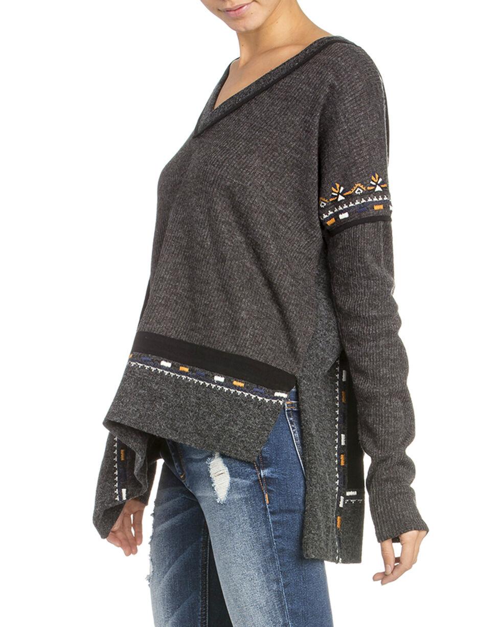 Miss Me Women's Embroidered V-Neck Top, Dark Grey, hi-res
