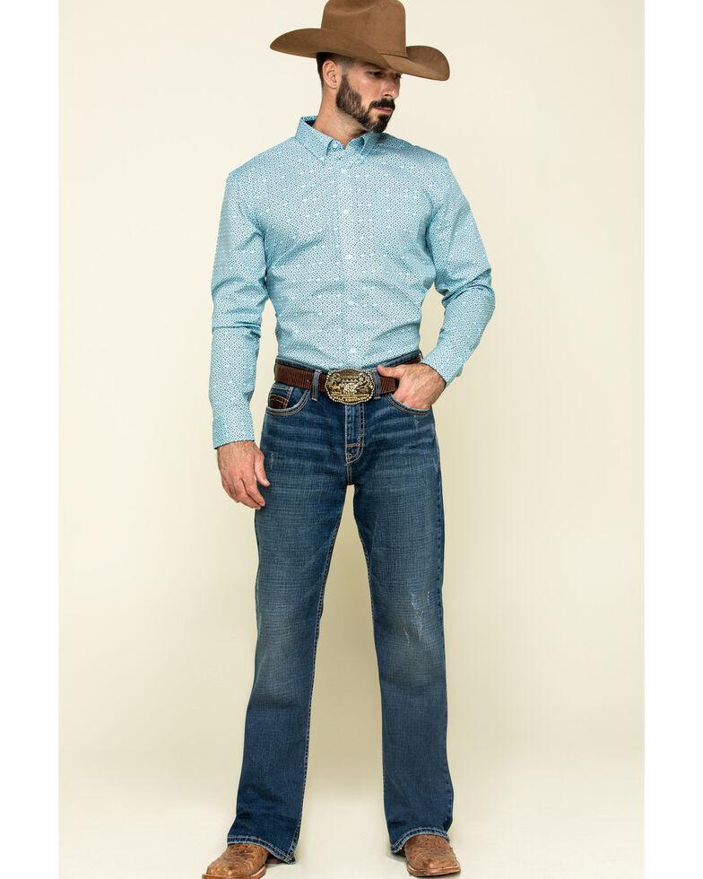 Cody James Core Men's All-In Geo Print Long Sleeve Western Shirt , Navy, hi-res