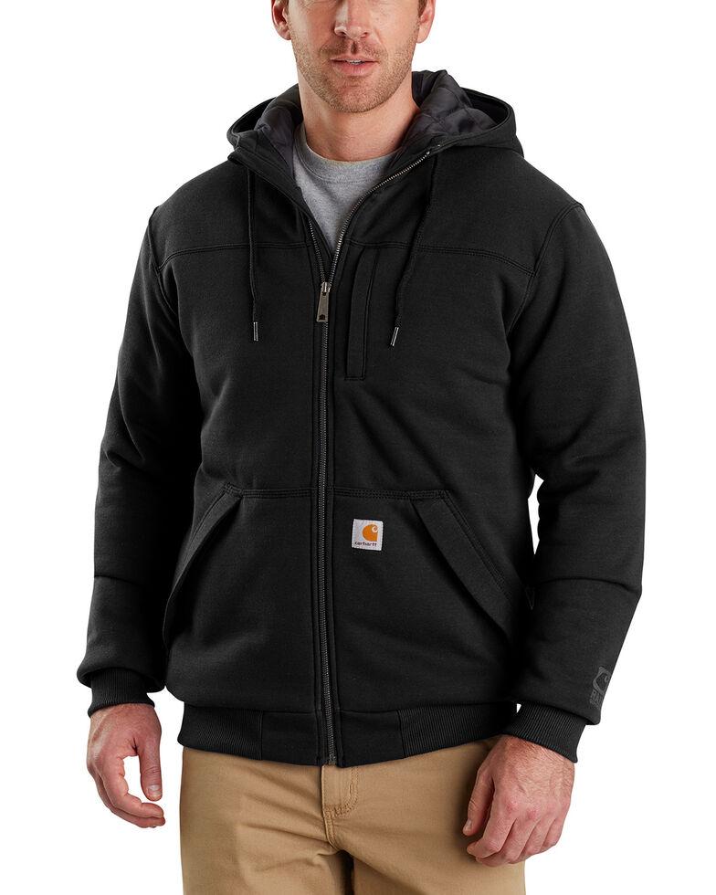 Carhartt Men's Rain Defender Rockland Quilt-Lined Hooded Jacket , Black, hi-res