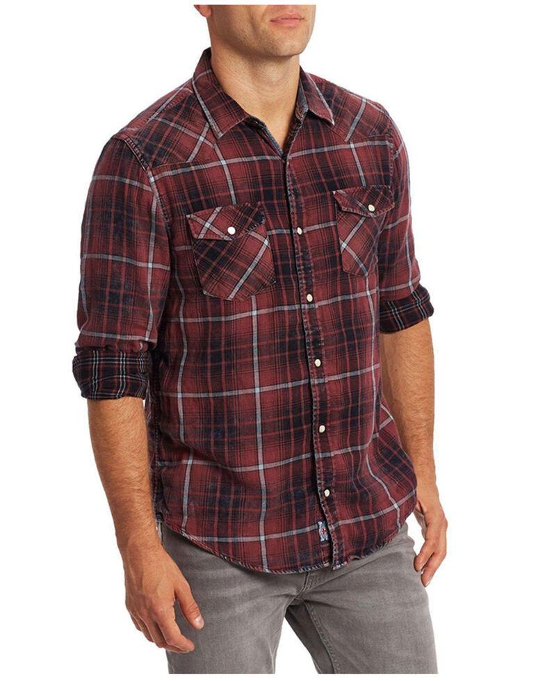 Flag & Anthem Men's Thornton Maroon Plaid Long Sleeve Snap Western Shirt , Maroon, hi-res