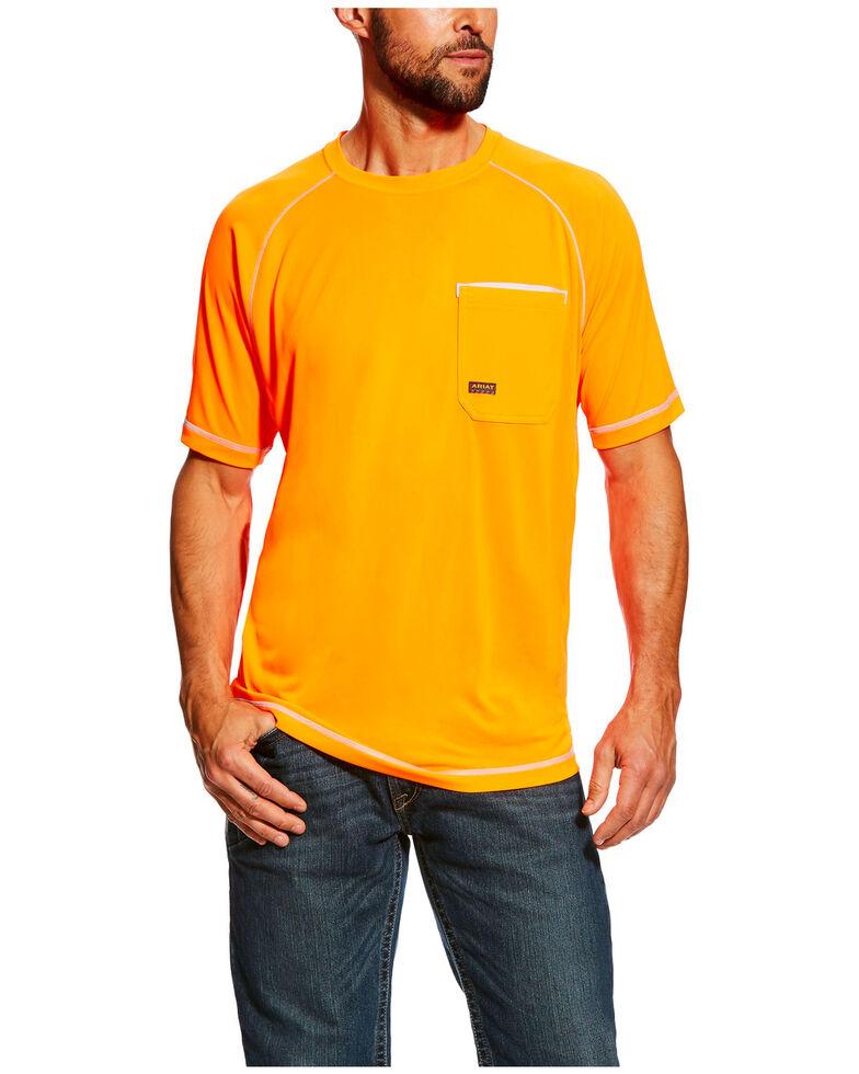Ariat Men's Orange Rebar Sunstopper Short Sleeve Work Pocket T-Shirt , Orange, hi-res
