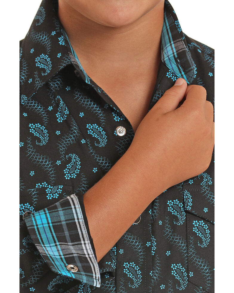 Panhandle Select Boys' Brushed Blue Paisley Print Long Sleeve Western Shirt , Black, hi-res