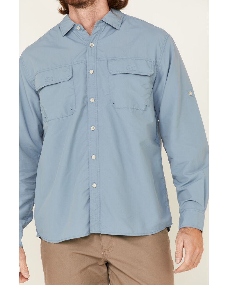 North River Men's Solid Light Blue Utility Outdoor Long Sleeve Button-Down Western Shirt , Blue, hi-res