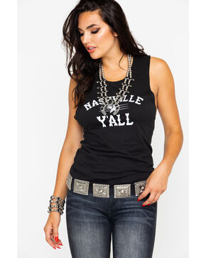 Ali Dee Women's Nashville Ya'll Graphic Muscle Tank , Black, hi-res
