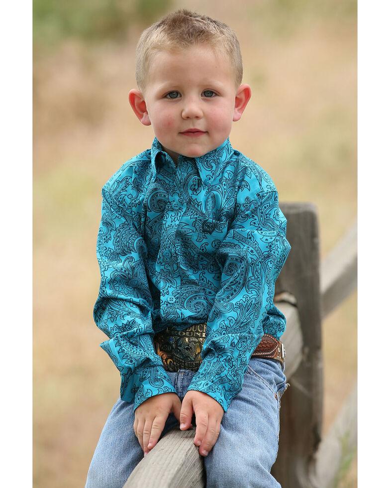 Cinch Toddler Boys' Teal Paisley Print Long Sleeve Western Shirt , Teal, hi-res
