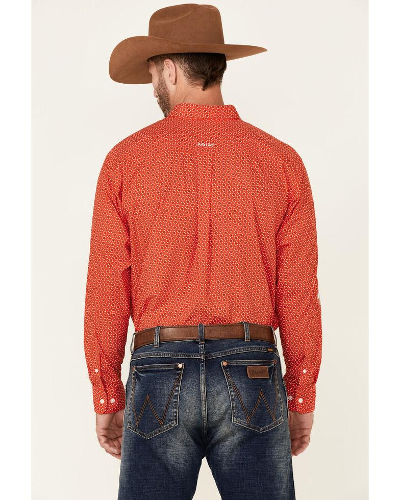 Ariat Men's Team Bruin Geo Print Long Sleeve Button-Down Western Shirt , Red, hi-res